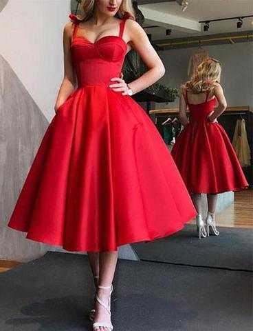A-Line Spaghetti Straps Tea-Length Red Satin Prom Homecoming Dresses with Pockets WK86