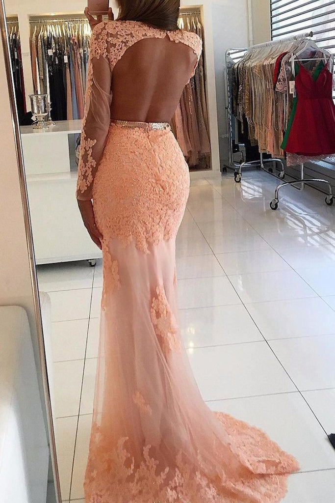 2019 Prom Dresses Mermaid Scoop Long Sleeves With Applique Tulle Sweep Train