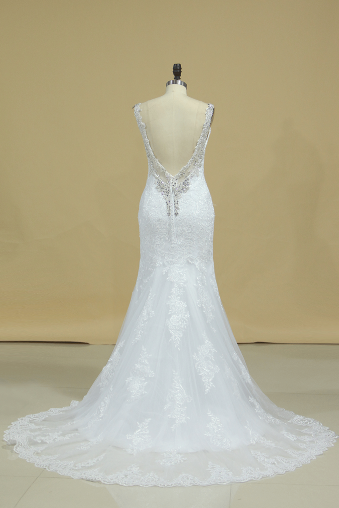 2019 Spaghetti Straps Wedding Dresses Mermaid Open Back With Applique And Beads Tulle