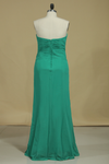 Sweetheart Sheath Bridesmaid Dress With Ruffles Chiffon