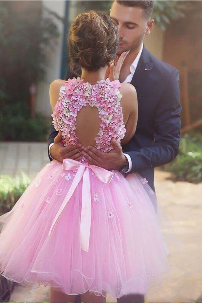 2019 Straps Homecoming Dresses A Line Tulle With Handmade Flowers
