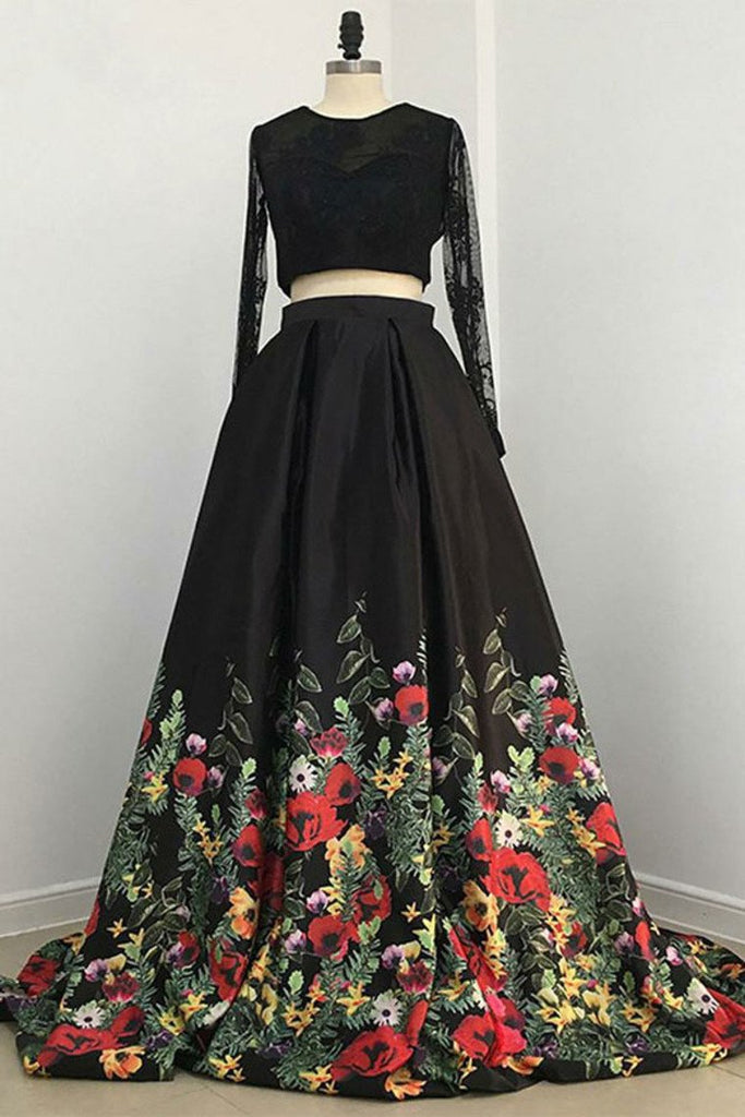 Pretty 2 Pieces Long Sleeves Open Back Black Lace Satin Prom Dresss