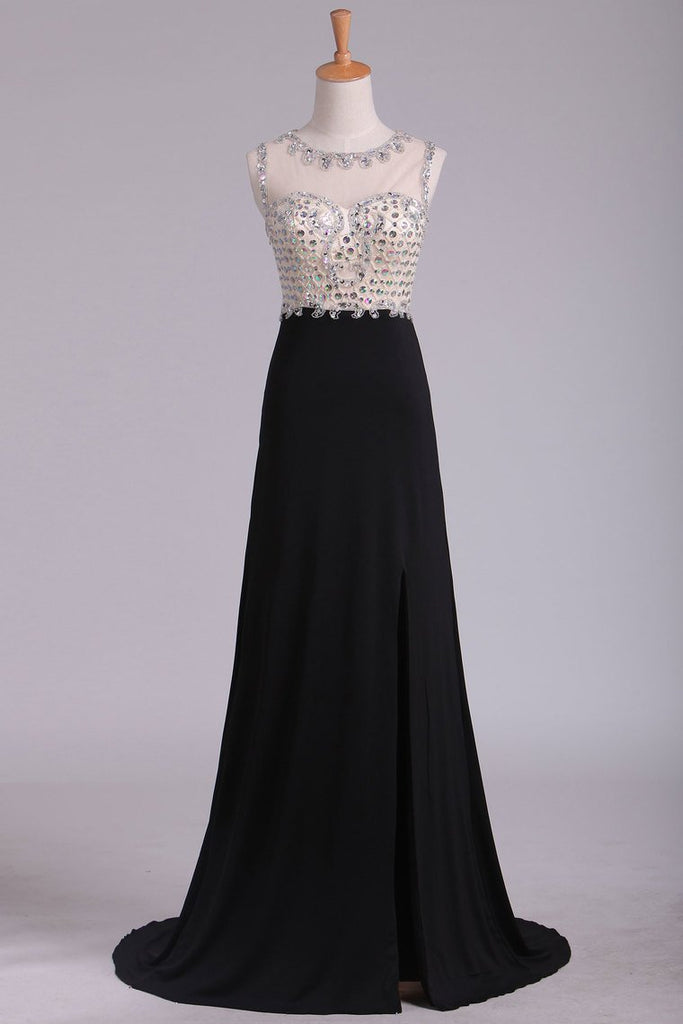Black Scoop Prom Dresses Sheath With Beading And Slit Spandex