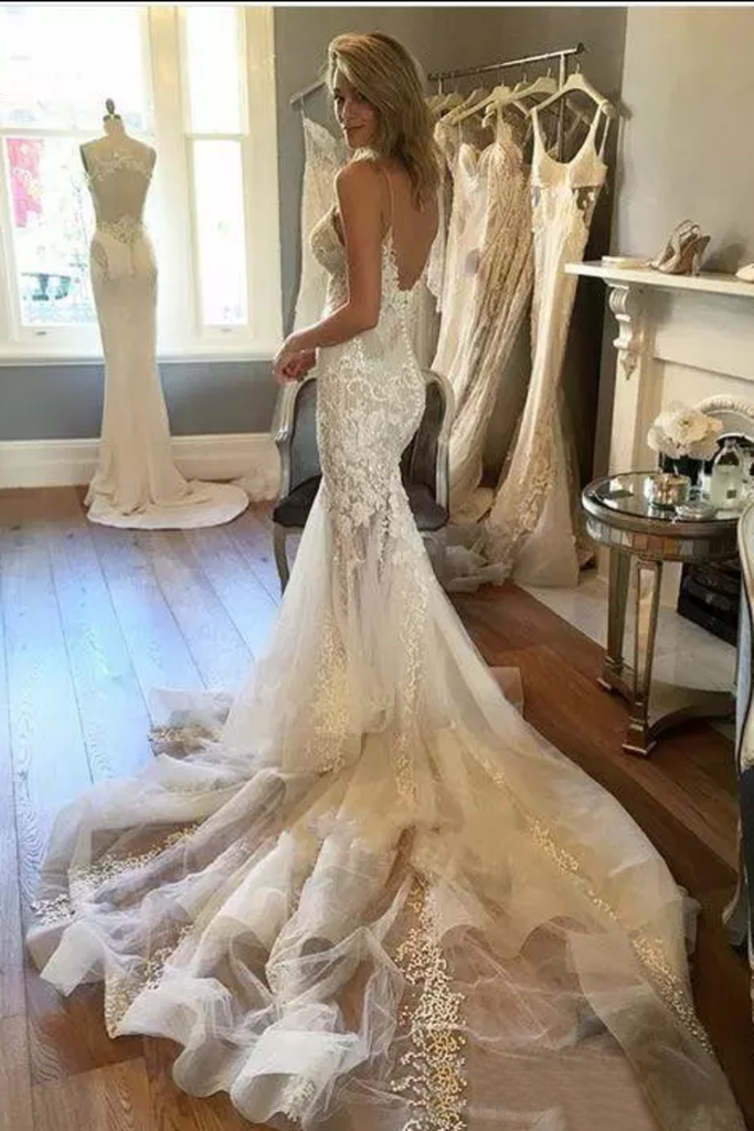 Mermaid Wedding Dresses Spaghetti Straps With Applique And Beads Tulle