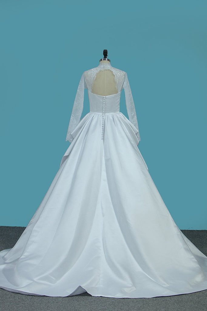 Long Sleeves Satin Wedding Dresses High Neck Open Back A Line