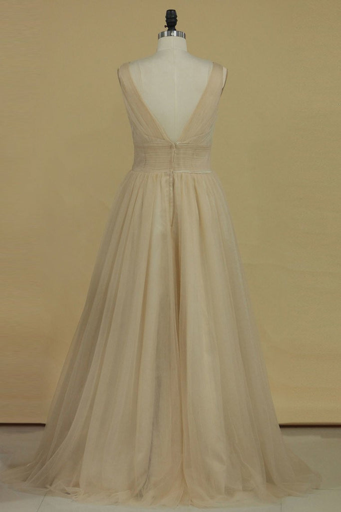 2019 A Line V Neck Open Back Bridesmaid Dresses Ruched Bodice Tulle Floor Length