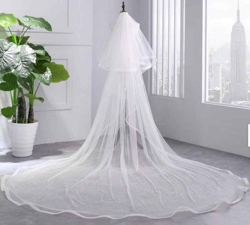 Princess Cheap Tulle Long Length Vintage Wedding Veils Bridal Veils WK181