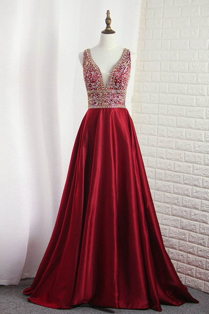 2019 A Line V Neck Satin With Beading Open Back Sweep Train Prom Dresses