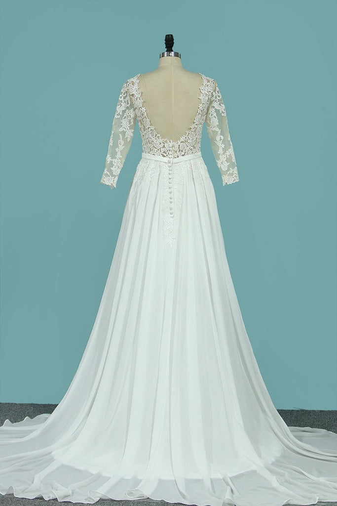2019 Scoop Chiffon Wedding Dresses 3/4 Length Sleeves With Applique