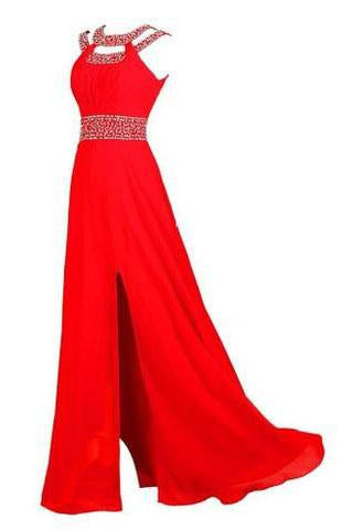 Beaded Bridesmaid Evening Party Prom Chiffon Gown Dress Prom Dresses WK538