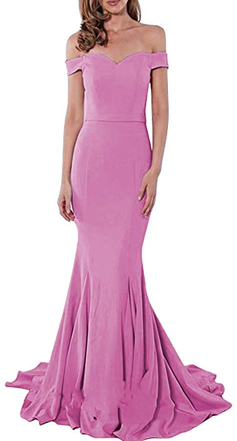 Blush Pale Pink Sexy Off the Shoulder Mermaid Charming Satin Sweep Train Prom Dresses WK163