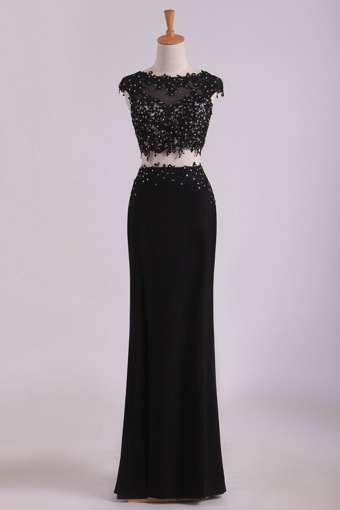 2019 Prom Dresse Scoop Sheath With Applique And Beads Two-Piece Spandex