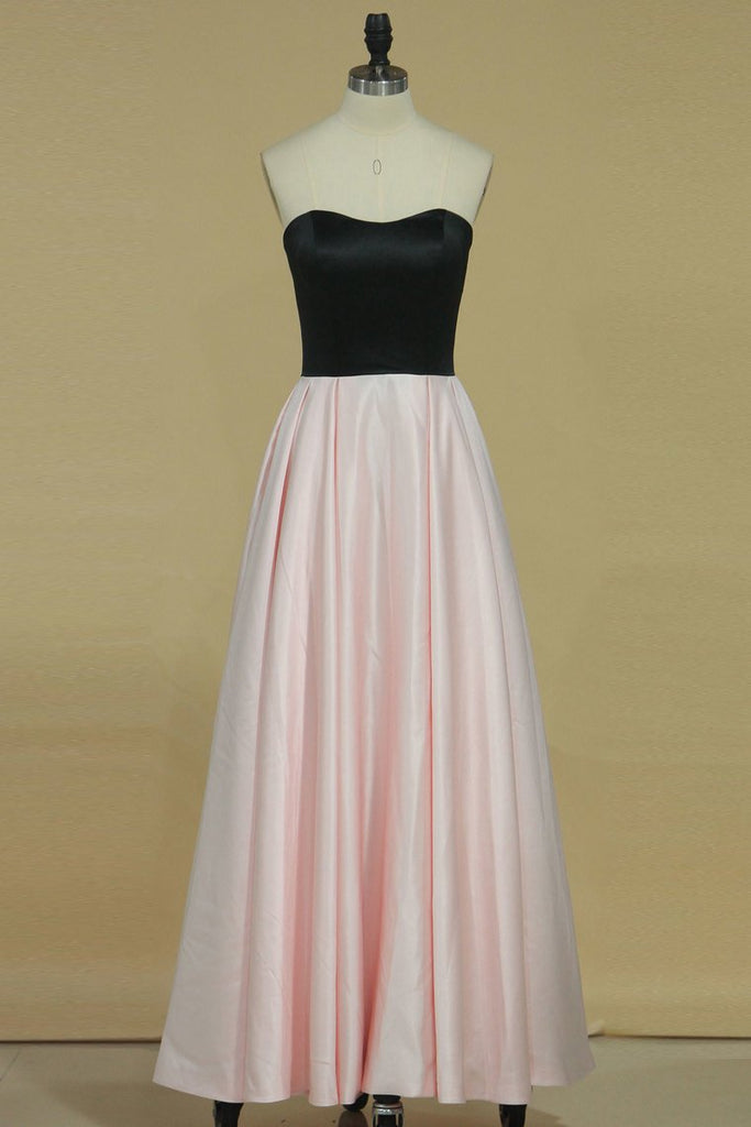 2019 Bicolor A Line Scalloped Neckline Prom Dresses Satin Ankle Length