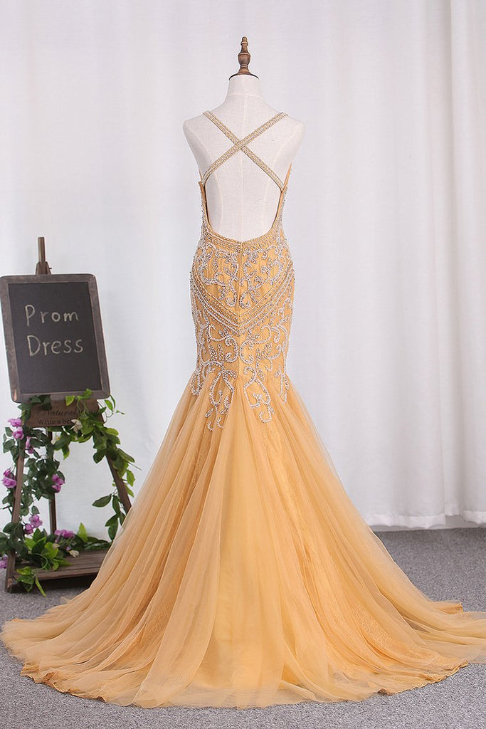2019 Sexy Open Back Mermaid Tulle Prom Dresses Spaghetti Straps Beaded Bodice