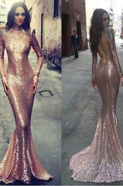 Long sleeve mermaid Rose Gold sequin prom dresses Backless prom dress sexy prom dresses WK106