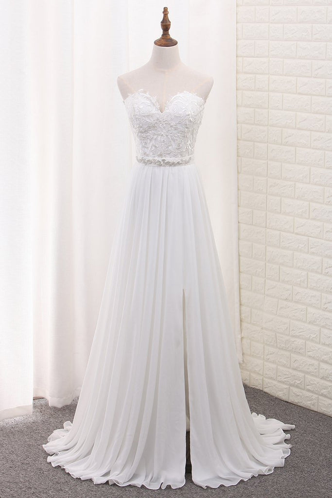 2020 A Line Chiffon Sweetheart Wedding Dresses With Applique And Slit