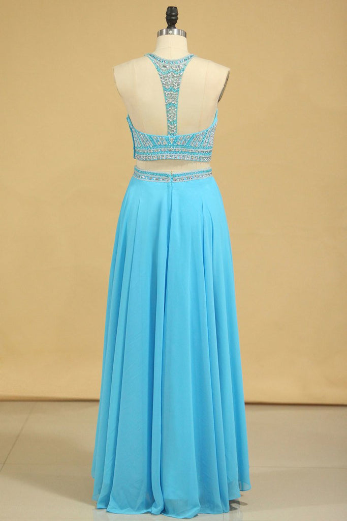 2019 Two-Piece Scoop Prom Dresses A Line Open Back Chiffon & Tulle With Beading