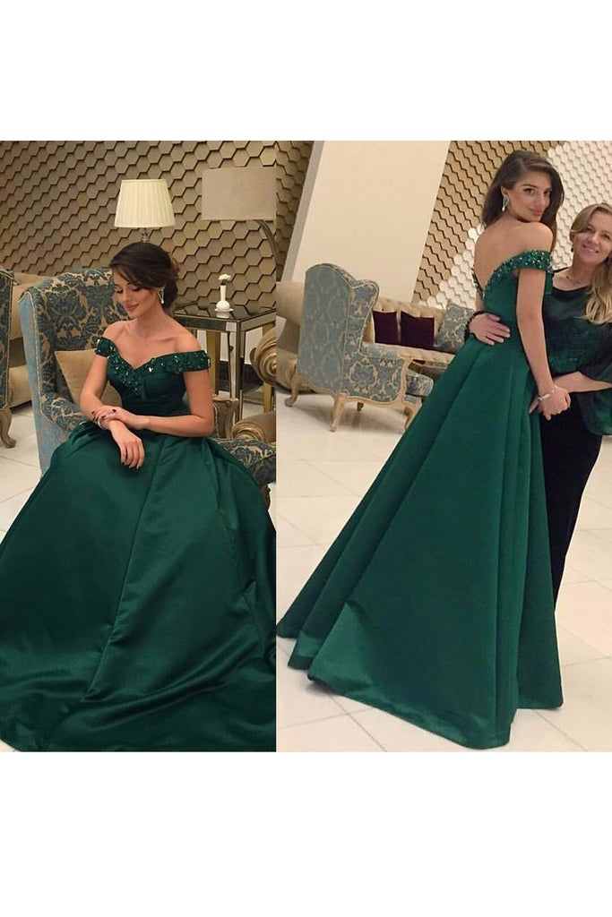 2019 New Arrival Prom Dresses A Line Off The Shoulder With Beading Satin