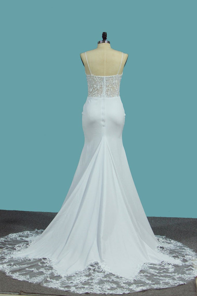2019 Spandex Mermaid Spaghetti Straps Wedding Dresses With Applique Court Train