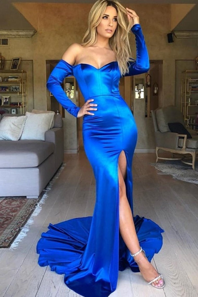 Sparkly Royal Blue Sheath Simple Cheap Long Mermaid Prom Dresses With Sleeves