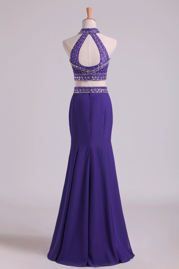 Prom Dresses Halter Two-Piece Beaded Bodice Mermaid Open Back Spandex & Tulle Floor Length