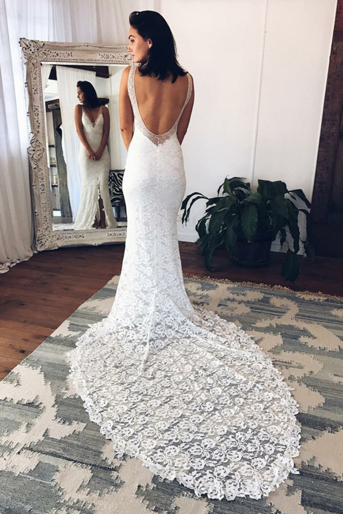 V-Neck Open Back Sheath Ivory Lace Long Wedding Dresses Bridal Gowns