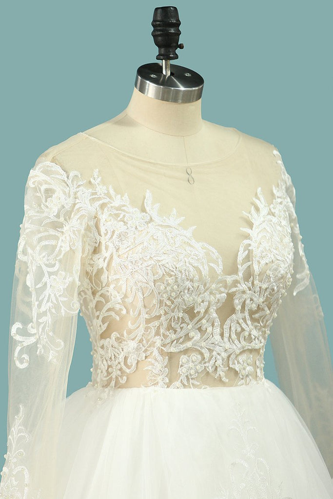 2019 Wedding Dresses Scoop Long Sleeves Tulle With Applique Court Train