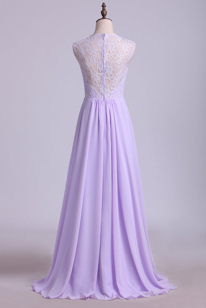 2019 Bridesmaid Dresses V-Neck A Line Floor Length Lace & Chiffon