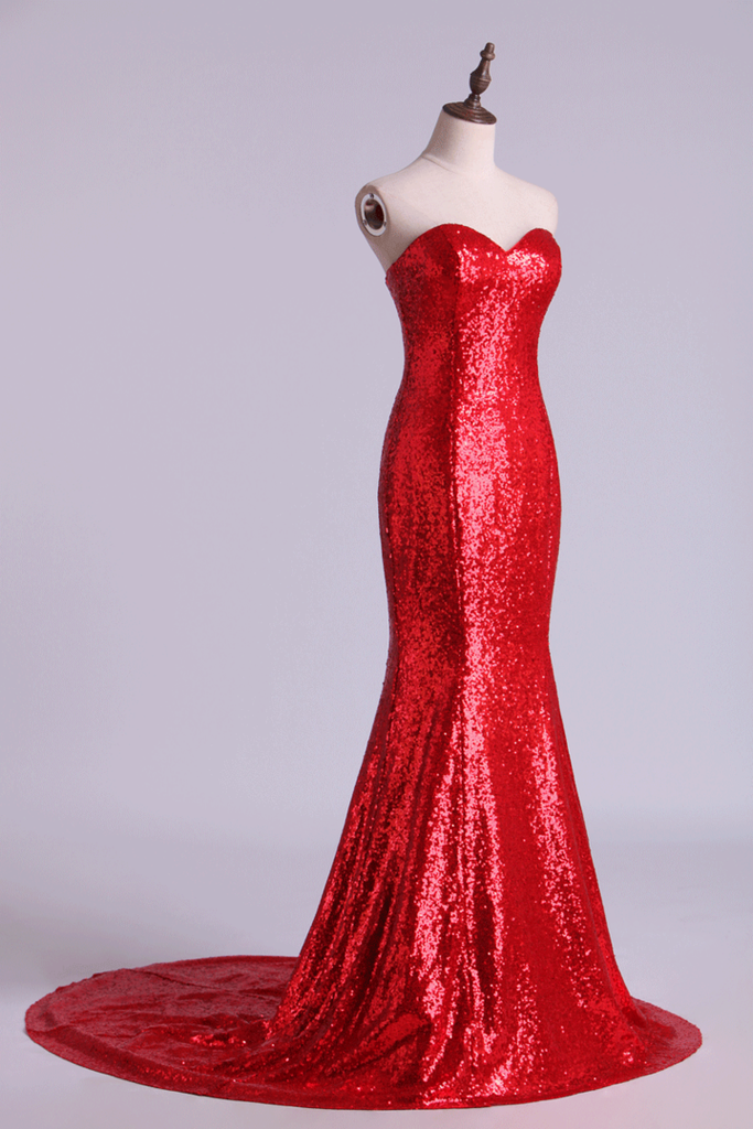 2019 Hot Red Mermaid/Trumpet Evening Dresses Sweetheart Sequined Bodice