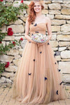 A-Line Strapless Sweetheart Lace up Prom Dress Tulle Sleeveless Ruffles Wedding Dresses WK336