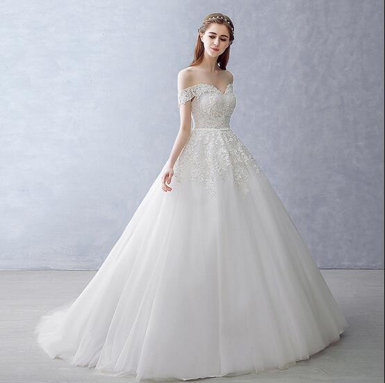White Off-the-Shoulder Ball Gown Beads Sweetheart Floor-Length Wedding Dress WK751