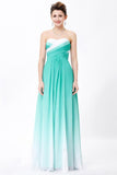Simple Unique Ombre Green Spaghetti Straps Sweetheart A-Line Chiffon Prom Dresses WK362