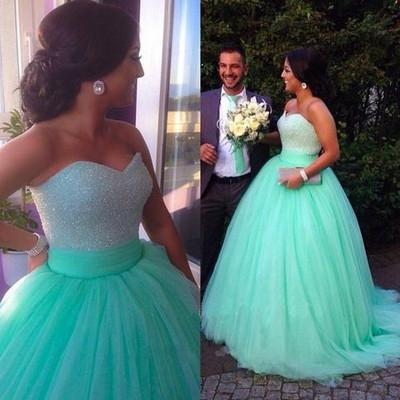 A-Line Tulle Sexy Strapless Sweetheart Sleeveless Green Beads Prom Dresses WK948