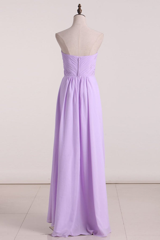 2020 A Line Bridesmaid Dresses Sweetheart Asymmetrical Chiffon With Beads