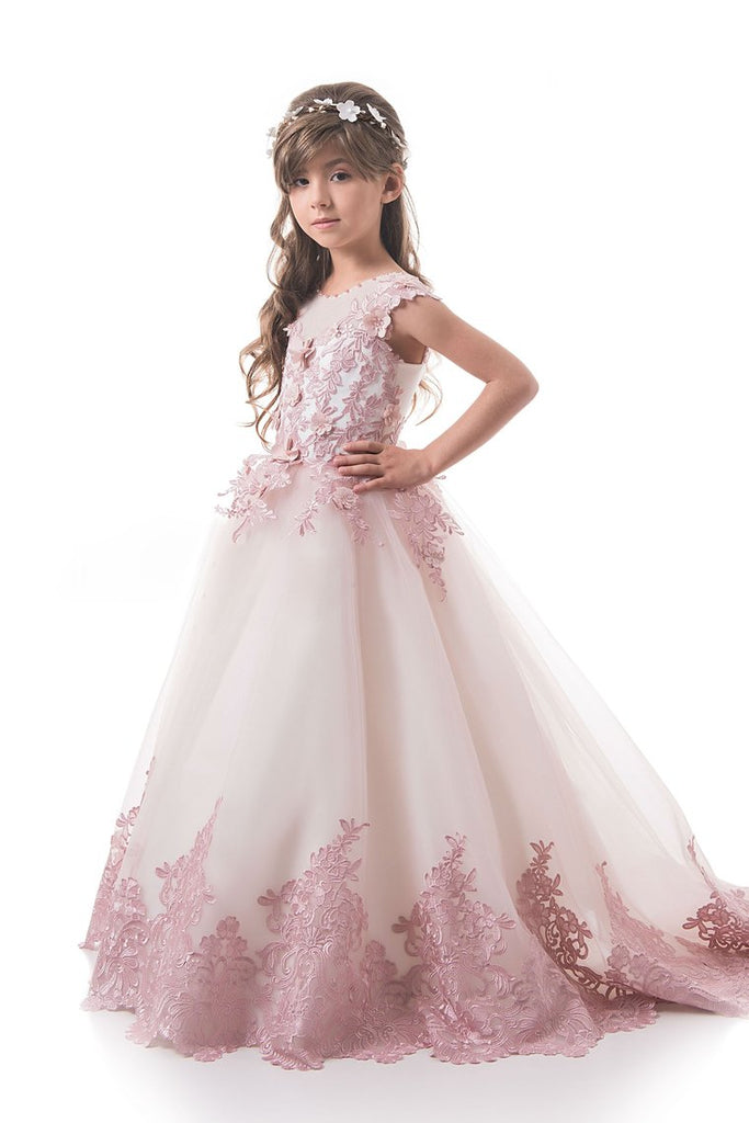 2019 Tulle Flower Girl Dresses Scoop With Applique And Handmade Flowers A Line