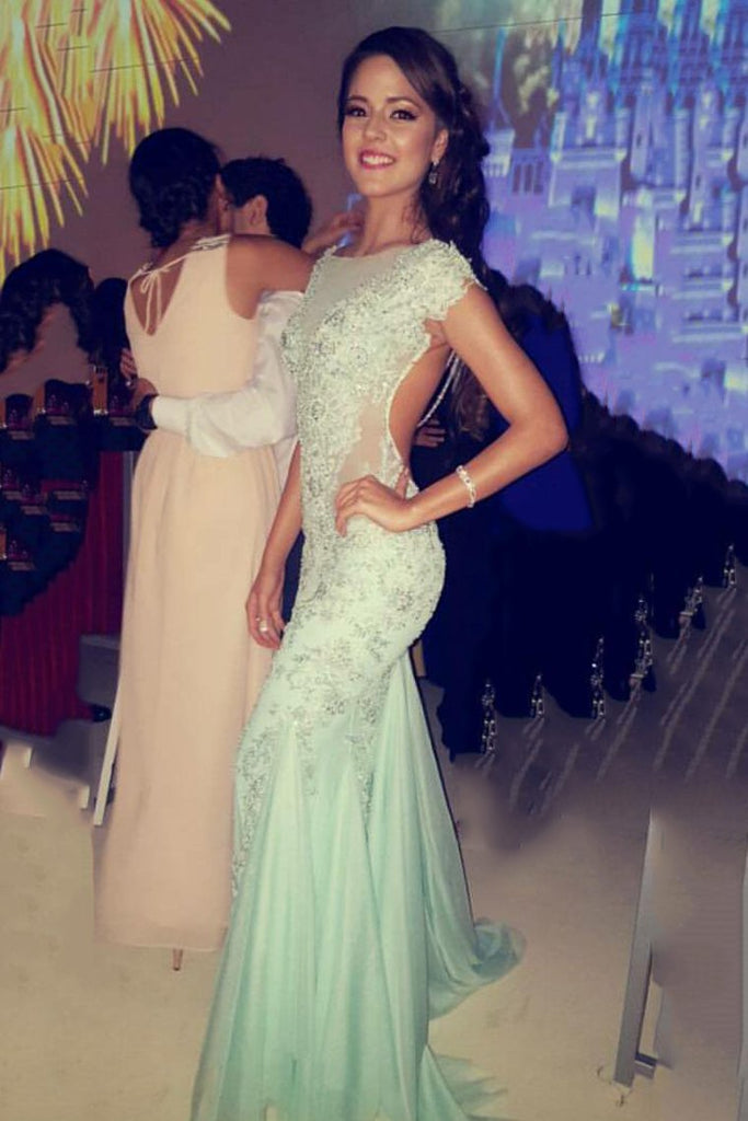 Open Back Mermaid Scoop Prom Dresses Tulle With Applique Sweep Train