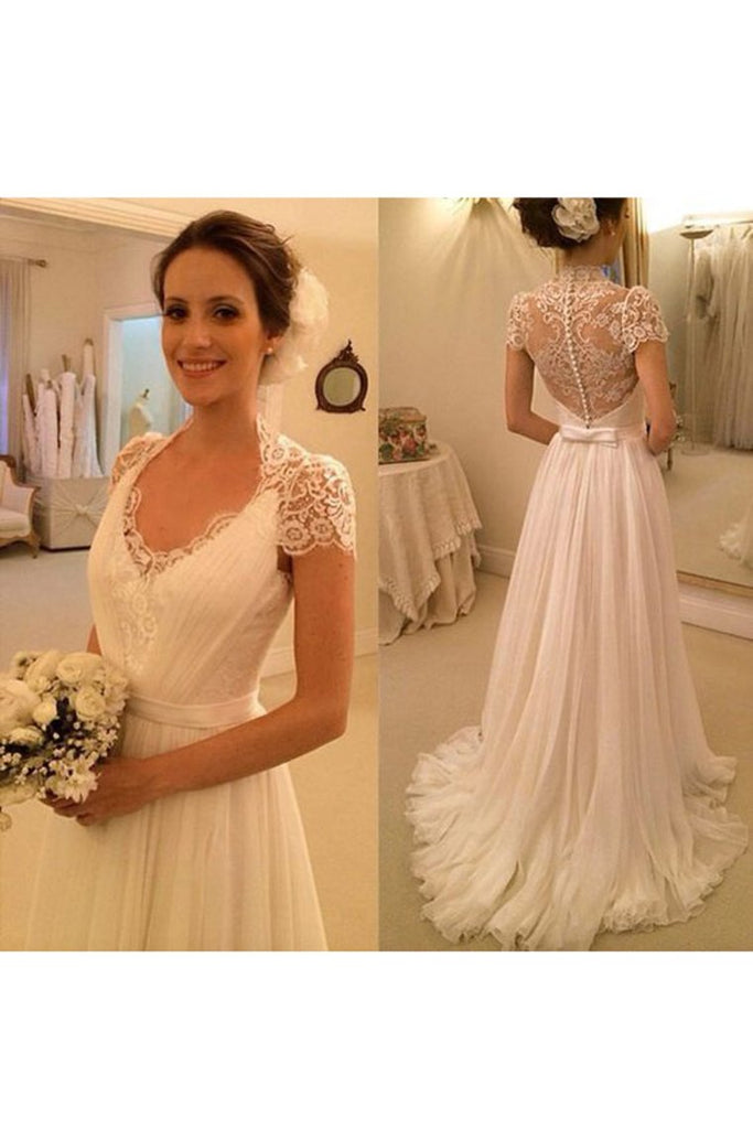 2019 Short Sleeves Wedding Dresses A Line Chiffon With Applique And Sash