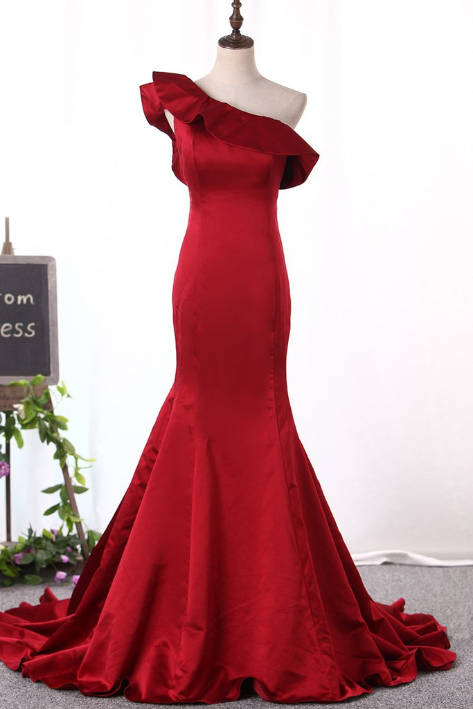 2019 New Arrival One Shoulder Evening Dresses Mermaid Satin Sweep Train