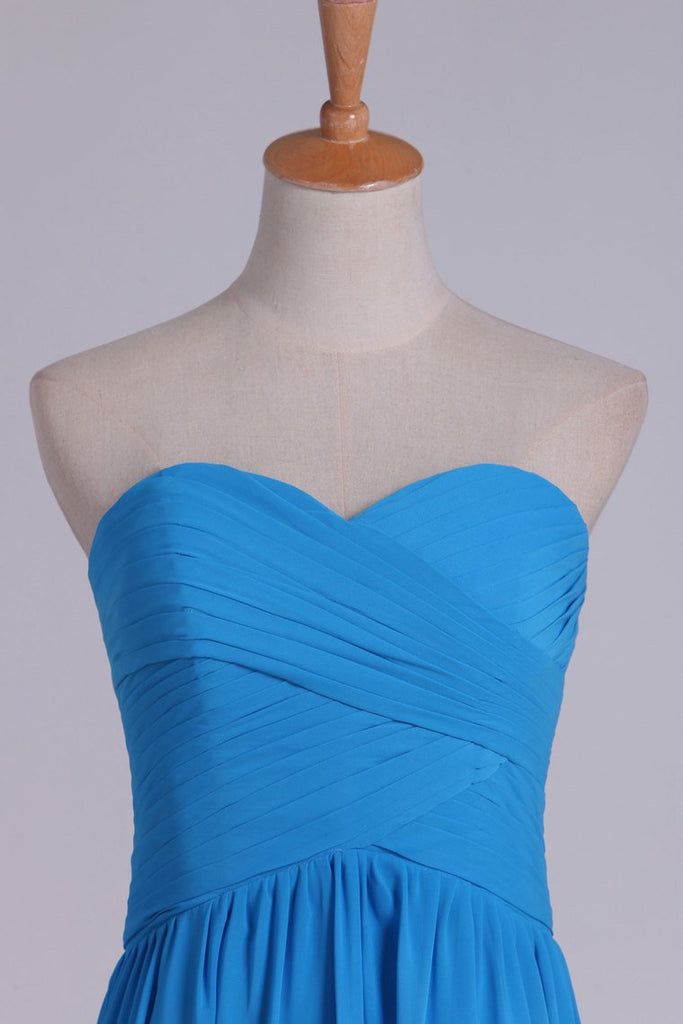 A Line Sweetheart Ruched Bodice Prom Dress Chiffon Floor Length
