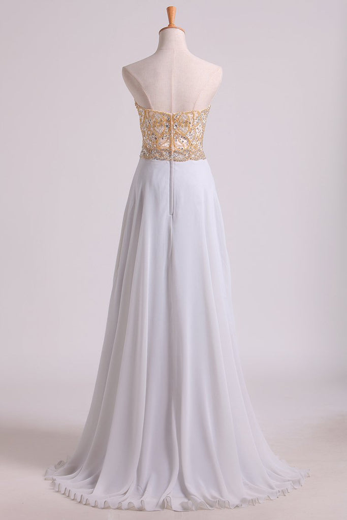 2019 Prom Dresses Sweetheart A Line With Beads Floor Length Chiffon