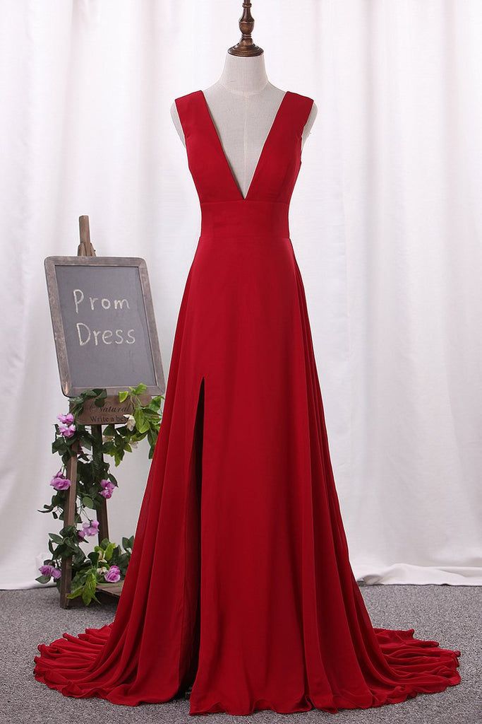 Prom Dresses V Neck Chiffon With Slit A Line Sweep Train