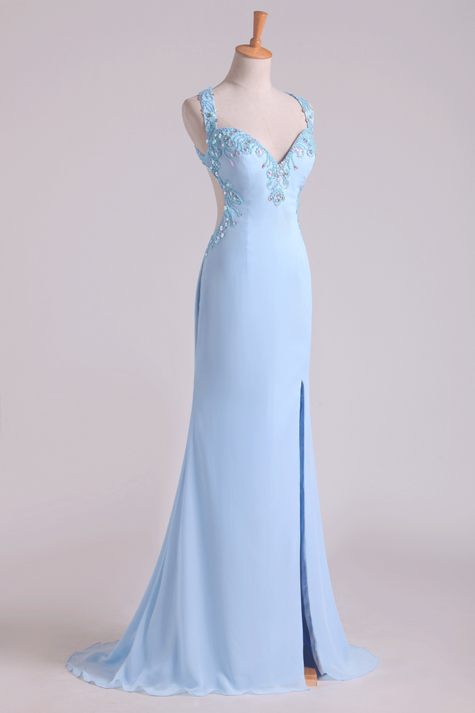 A Line Two-Piece Halter Beaded Bodice Open Back Prom Dresses Chiffon & Tulle