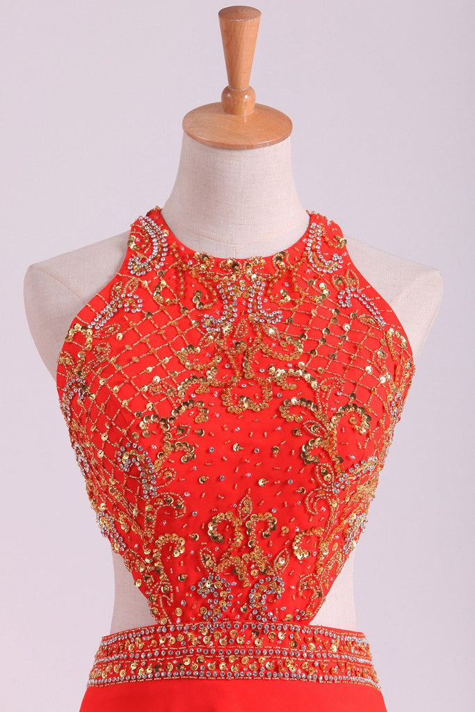 2019 Prom Dresses Scoop A Line Orange Red Chiffon With Beading Sweep Train