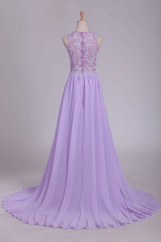 2019 See-Through Scoop A Line Sweep Train Prom Dresses With Applique And Slit