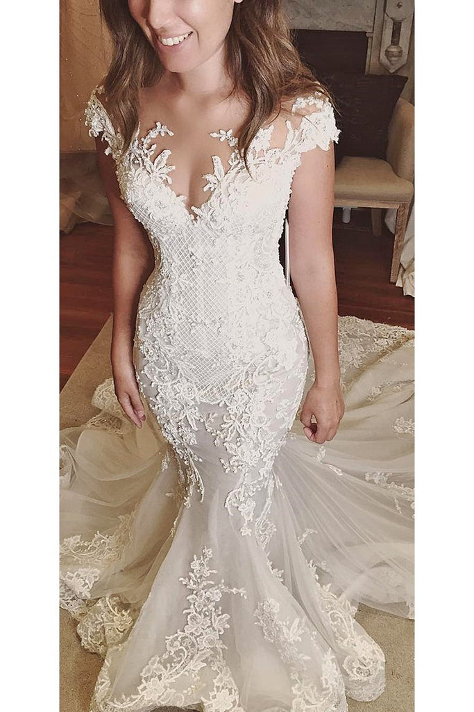2019 Wedding Dresses Mermaid Off The Shoulder Tulle With Applique