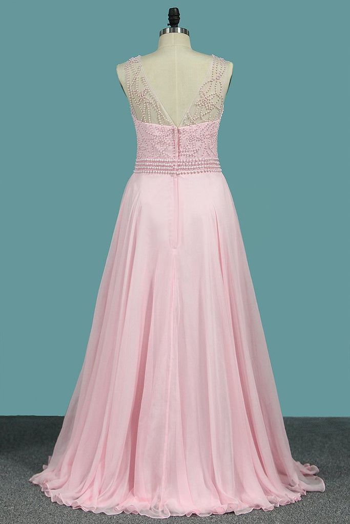 2019 Scoop A Line Prom Dresses 30D Chiffon With Beads Bodice