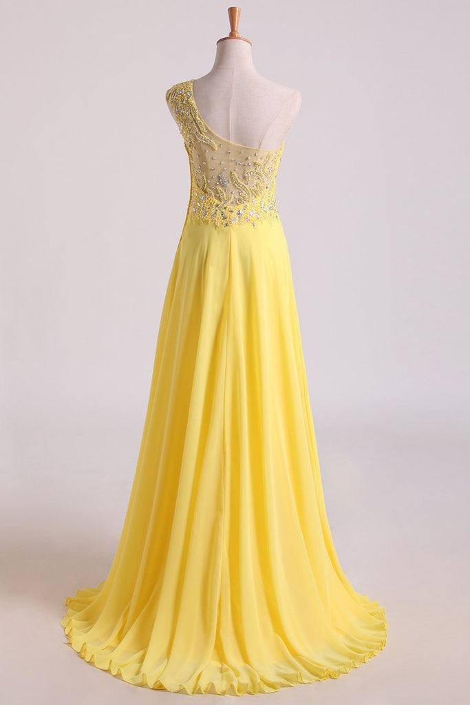 Hot One Shoulder A Line Prom Dress Beaded Tulle And Chiffon Court Train
