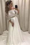 A-line Princess Lace Bodice 3/4 Sleeves Two Pieces Satin Simple Wedding Dresses WK728