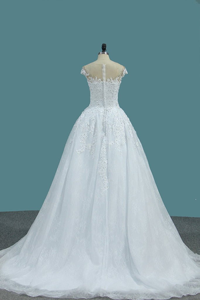 A Line Scoop Wedding Dresses Tulle With Applique And Beads Court Train