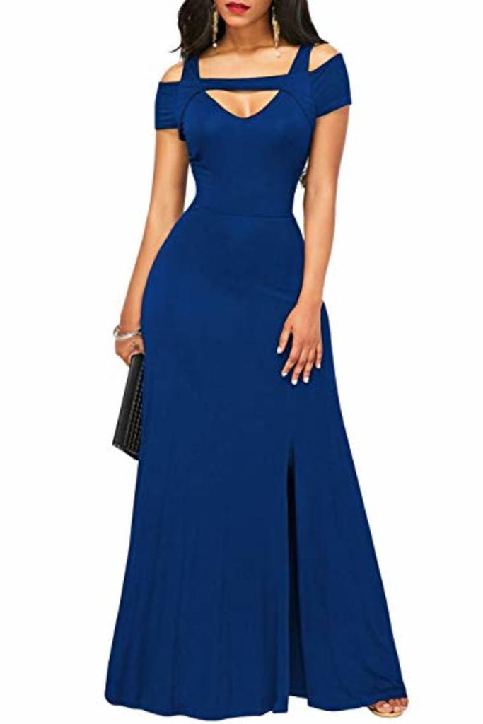 Long Evening V-Neck Side Split Short Sleeve Ball Gown Dress